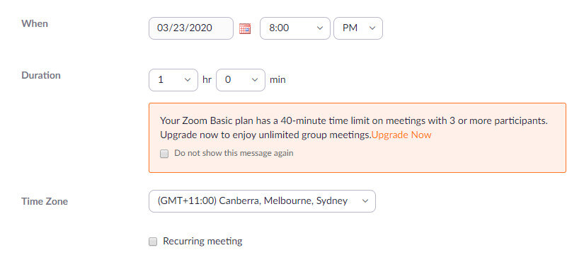 Online Meeting Platform - Zoom - Schedule a Meeting 2